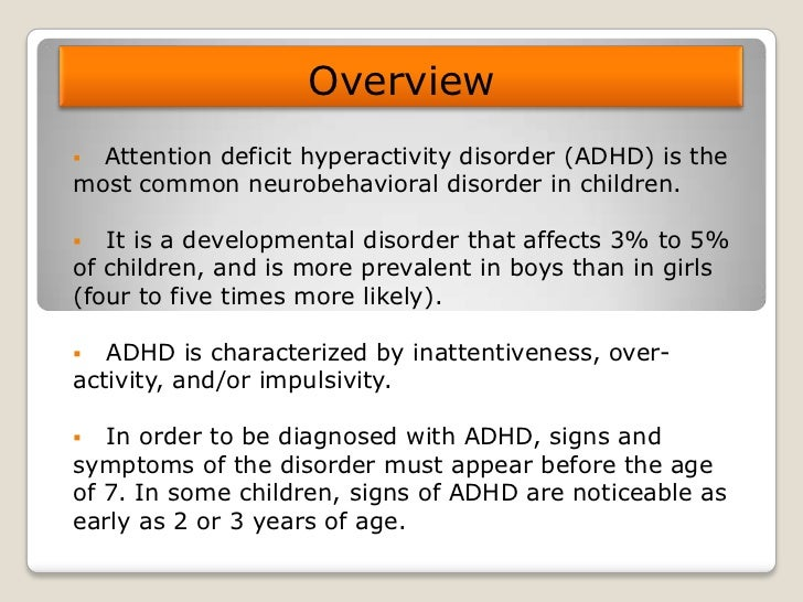 Overview of Attention Deficit Hyperactivity Disorder in Young Children
