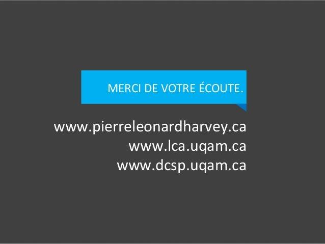 www.pierreleonardharvey.ca   www.lca.uqam.ca   www.dcsp.uqam.ca   MERCI  DE  VOTRE  ÉCOUTE.