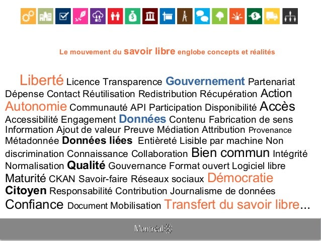 Le mouvement du savoir libre englobe concepts et réalités Liberté Licence Transparence Gouvernement Partenariat Dépense Co...