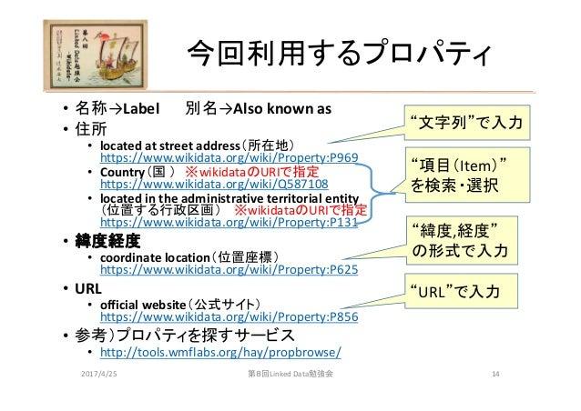 今回利用するプロパティ • 名称→Label 別名→Alsoknownas • 住所 • locatedatstreetaddress(所在地) https://www.wikidata.org/wiki/Property:P969 ...