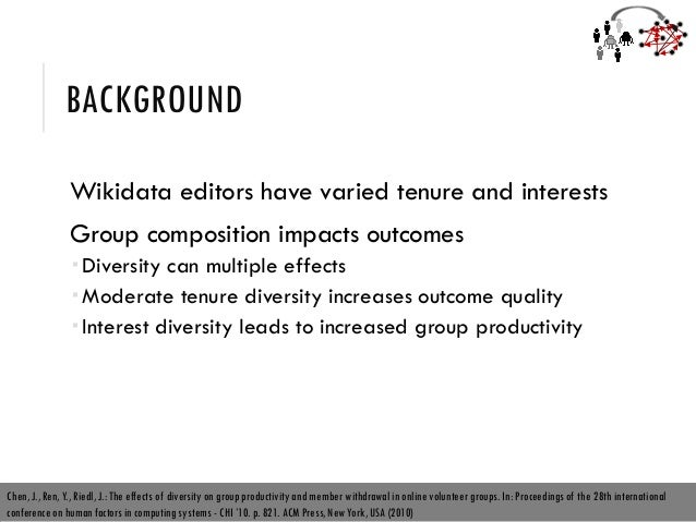 BACKGROUND Wikidata editors have varied tenure and interests Group composition impacts outcomes  Diversity can multiple e...