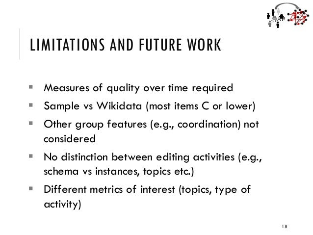 LIMITATIONS AND FUTURE WORK ▪ Measures of quality over time required ▪ Sample vs Wikidata (most items C or lower) ▪ Other ...