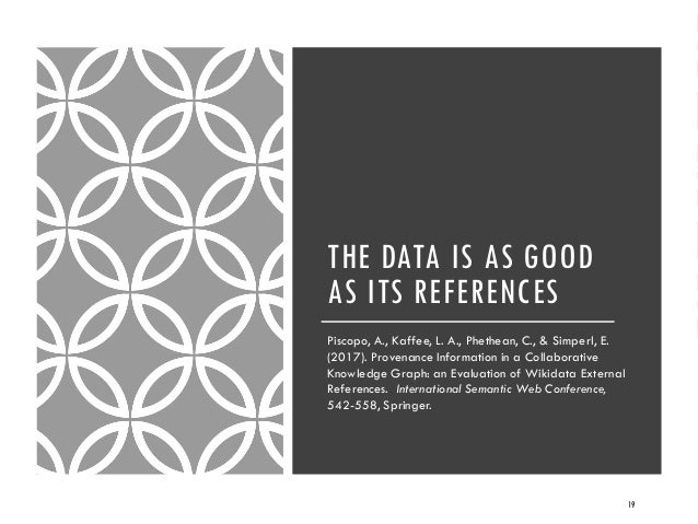 THE DATA IS AS GOOD AS ITS REFERENCES Piscopo, A., Kaffee, L. A., Phethean, C., & Simperl, E. (2017). Provenance Informati...