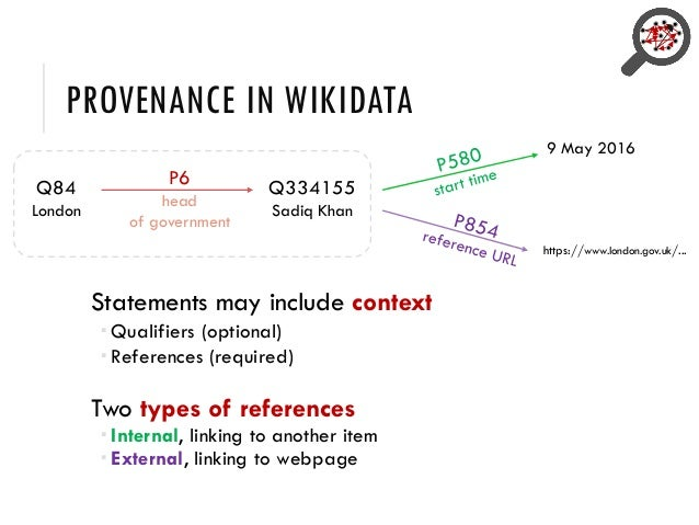 PROVENANCE IN WIKIDATA Statements may include context  Qualifiers (optional)  References (required) Two types of referen...