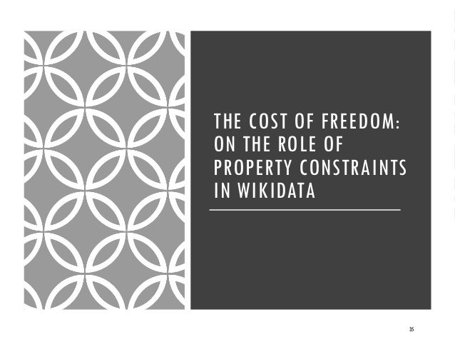 THE COST OF FREEDOM: ON THE ROLE OF PROPERTY CONSTRAINTS IN WIKIDATA 35