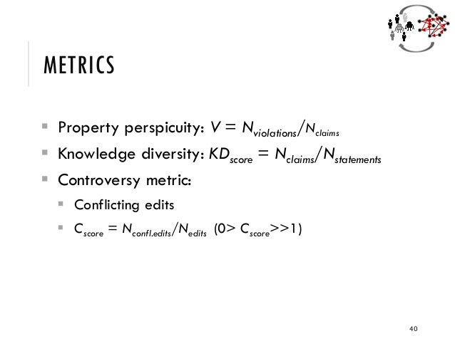 METRICS ▪ Property perspicuity: V = Nviolations/Nclaims ▪ Knowledge diversity: KDscore = Nclaims/Nstatements ▪ Controversy...