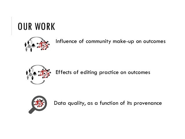 OUR WORK Influence of community make-up on outcomes Effects of editing practice on outcomes Data quality, as a function of...