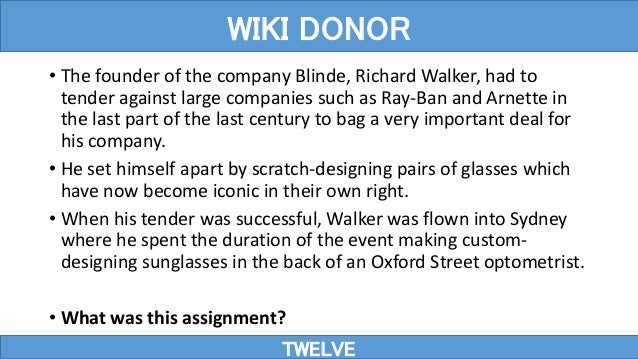 • The founder of the company Blinde, Richard Walker, had to tender against large companies such as Ray-Ban and Arnette in ...