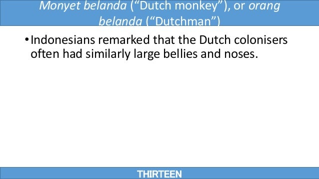 """•Indonesians remarked that the Dutch colonisers often had similarly large bellies and noses. THIRTEEN Monyet belanda (""""Dut..."""