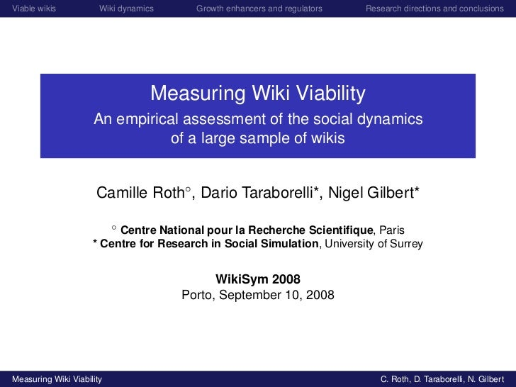 Viable wikis           Wiki dynamics     Growth enhancers and regulators   Research directions and conclusions            ...