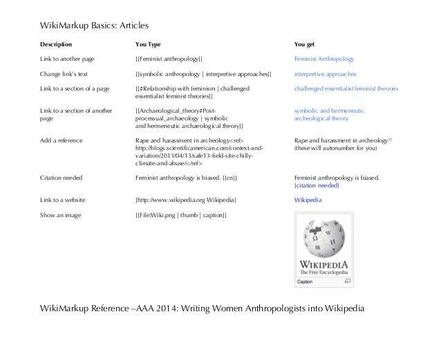 WikiMarkup Basics: Articles WikiMarkup Reference –AAA 2014: Writing Women Anthropologists into Wikipedia Description Link ...