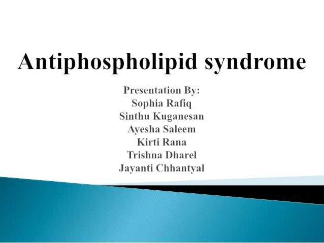 Antiphospholipid syndrome (APS), also known as Hughes syndrome, is a autoimmune system disorder caused by antiphospholipid...
