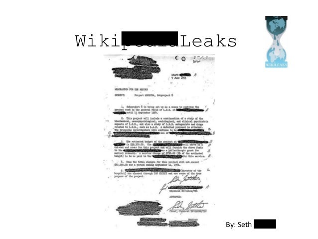 WikipediaLeaks By: Seth Moore