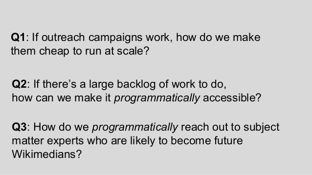 Q3: How do we programmatically reach out to subject matter experts who are likely to become future Wikimedians? Q1: If out...