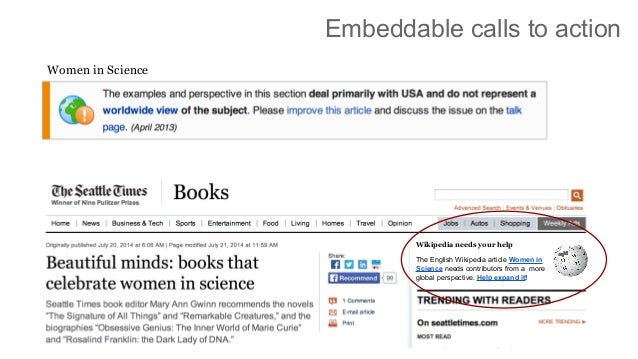 Embeddable calls to action Women in Science Wikipedia needs your help The English Wikipedia article Women in Science needs...