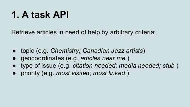 1. A task API Retrieve articles in need of help by arbitrary criteria: ● topic (e.g. Chemistry; Canadian Jazz artists) ● g...