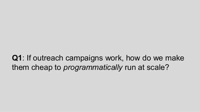 Q1: If outreach campaigns work, how do we make them cheap to programmatically run at scale?