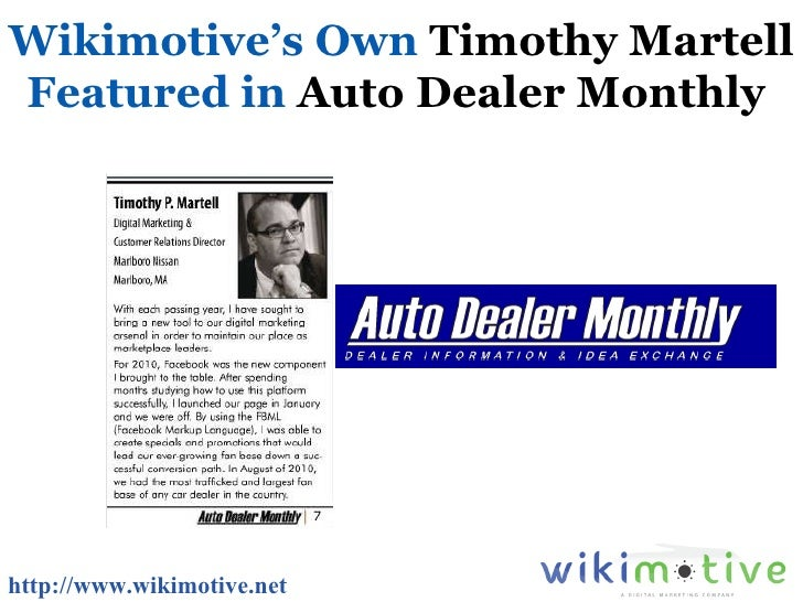 Wikimotive's Own  Timothy Martell  Featured in  Auto Dealer Monthly   http://www.wikimotive.net