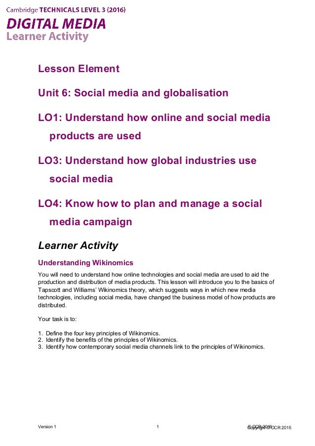 Copyright © OCR 2015 Lesson Element Unit 6: Social media and globalisation LO1: Understand how online and social media pro...
