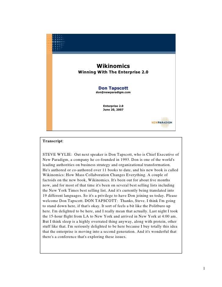 Wikinomics                      Winning With The Enterprise 2.0                                    Don Tapscott           ...