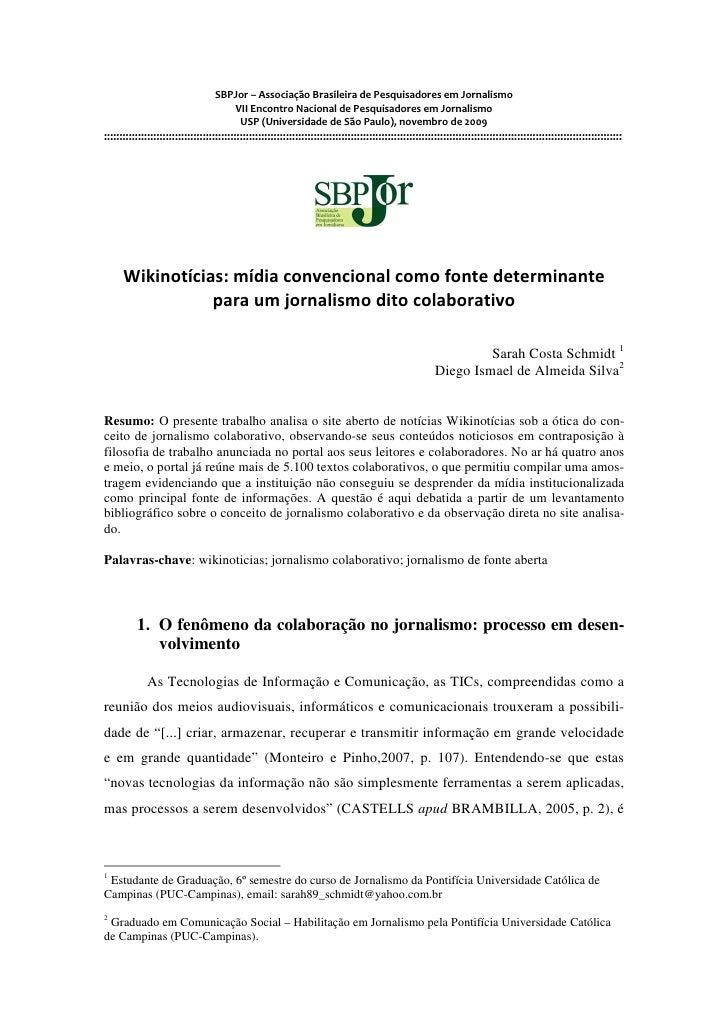 SBPJor – Associação Brasileira de Pesquisadores em Jornalismo                                        VII Encontro Nacional...