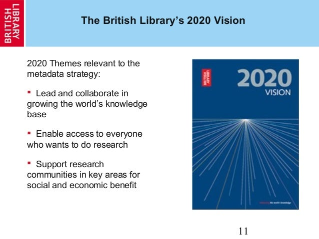 11 The British Library's 2020 Vision 2020 Themes relevant to the metadata strategy:  Lead and collaborate in growing the ...