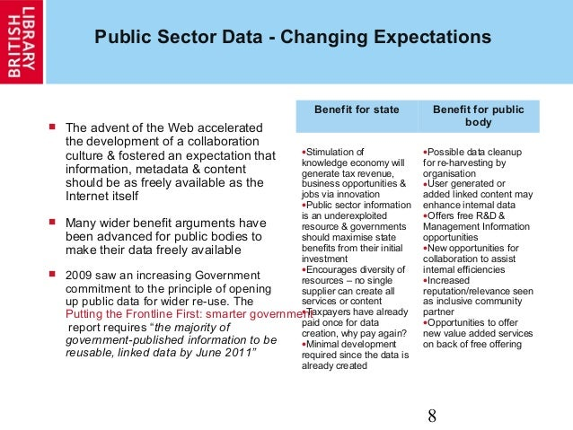 8 Public Sector Data - Changing Expectations  The advent of the Web accelerated the development of a collaboration cultur...