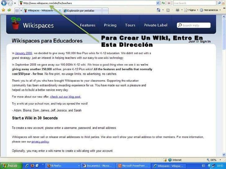 Para Crear Un Wiki, Entro En Esta Dirección<br />