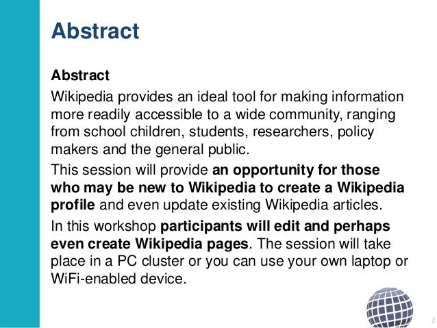 Getting to Grips with Wikipedia: a Practical Session Slide 2