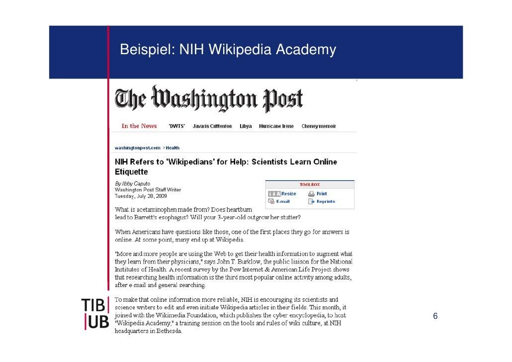 Beispiel: NIH Wikipedia Academy                                  6
