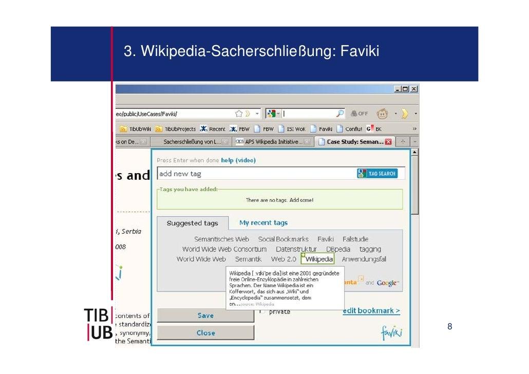 3. Wikipedia-Sacherschließung: Faviki                                        8