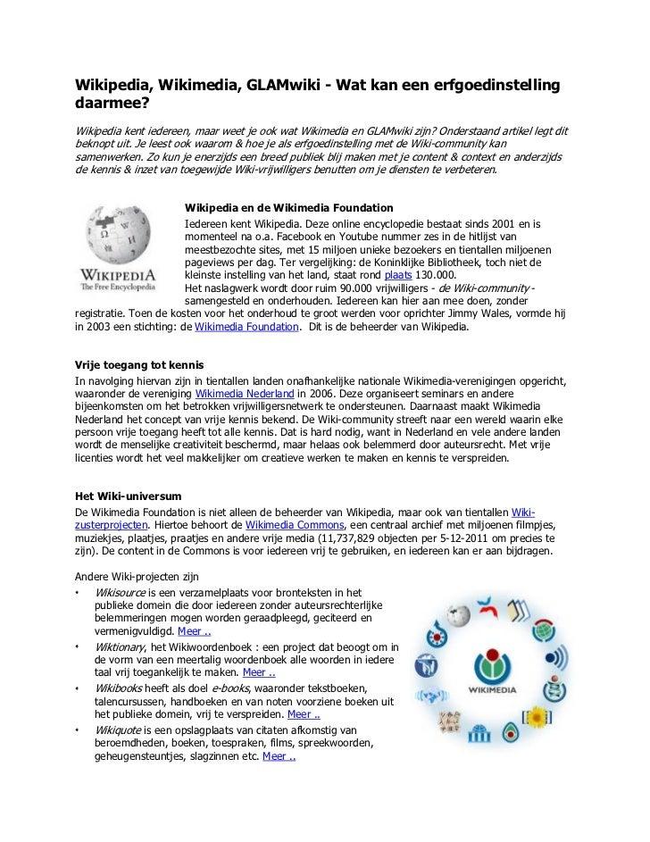 Wikipedia, Wikimedia, GLAMwiki - Wat kan een erfgoedinstellingdaarmee?Wikipedia kent iedereen, maar weet je ook wat Wikime...