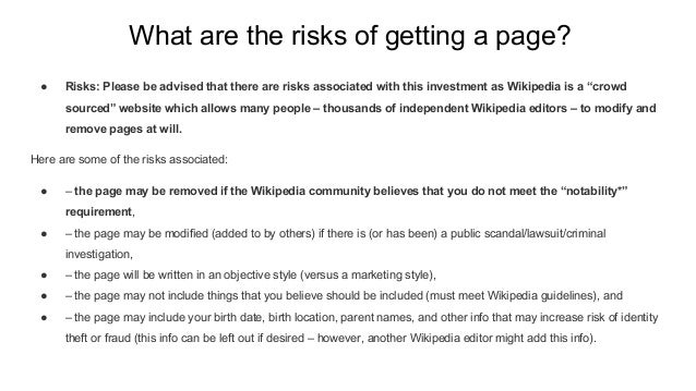 What are the risks of getting a page? ● Risks: Please be advised that there are risks associated with this investment as W...