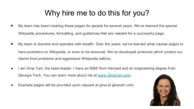Why hire me to do this for you? ● My team has been creating these pages for people for several years. We've learned the sp...