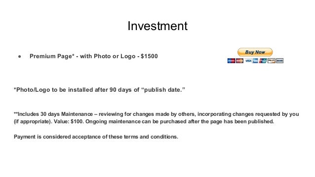 """Investment ● Premium Page* - with Photo or Logo - $1500 *Photo/Logo to be installed after 90 days of """"publish date."""" **Inc..."""