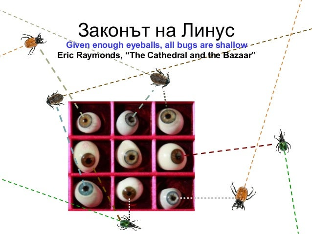 """Законът на ЛинусGiven enough eyeballs, all bugs are shallowEric Raymonds, """"The Cathedral and the Bazaar"""""""