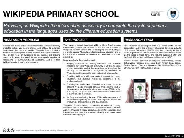 https://meta.wikimedia.org/wiki/Wikipedia_Primary_School - April 2014 WIKIPEDIA PRIMARY SCHOOL Providing on Wikipedia the ...