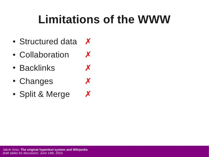 Limitations of the WWW       ●   Structured data ✗       ●   Collaboration                              ✗       ●   Backli...