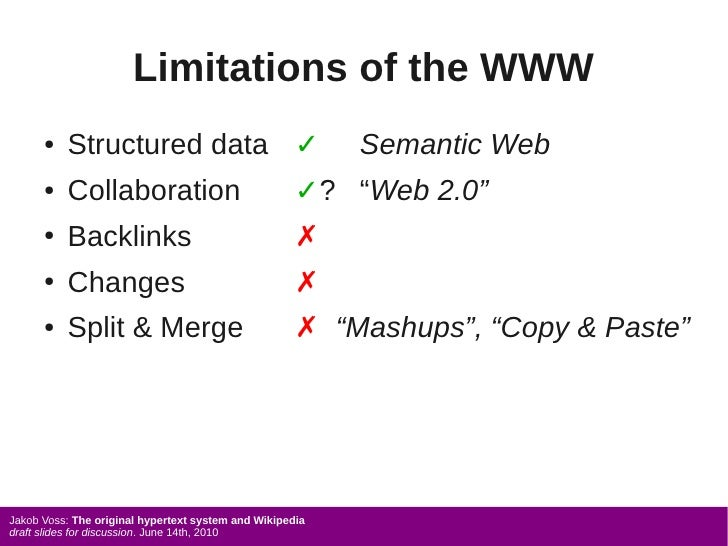 Limitations of the WWW       ●   Structured data ✓                               Semantic Web       ●   Collaboration     ...