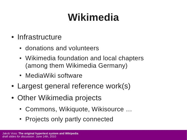 Wikimedia       ●   Infrastructure             ●   donations and volunteers             ●   Wikimedia foundation and local...