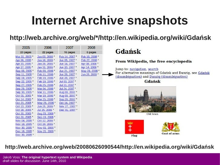 Internet Archive snapshots     http://web.archive.org/web/*/http://en.wikipedia.org/wiki/Gdańsk      http://web.archive.or...
