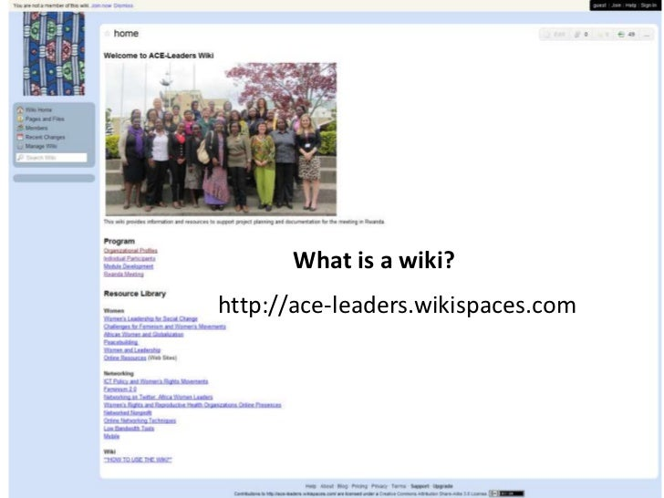 • Wiki organically changes according         to what group needs – living       • Hands-On           • Account Set Up     ...