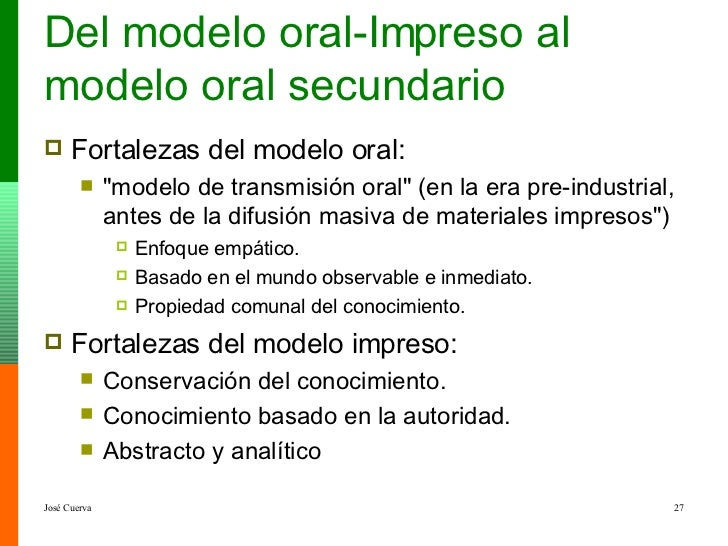 Del modelo oral-Impreso al modelo oral secundario <ul><li>Fortalezas del modelo oral:  </li></ul><ul><ul><li>&quot;modelo ...