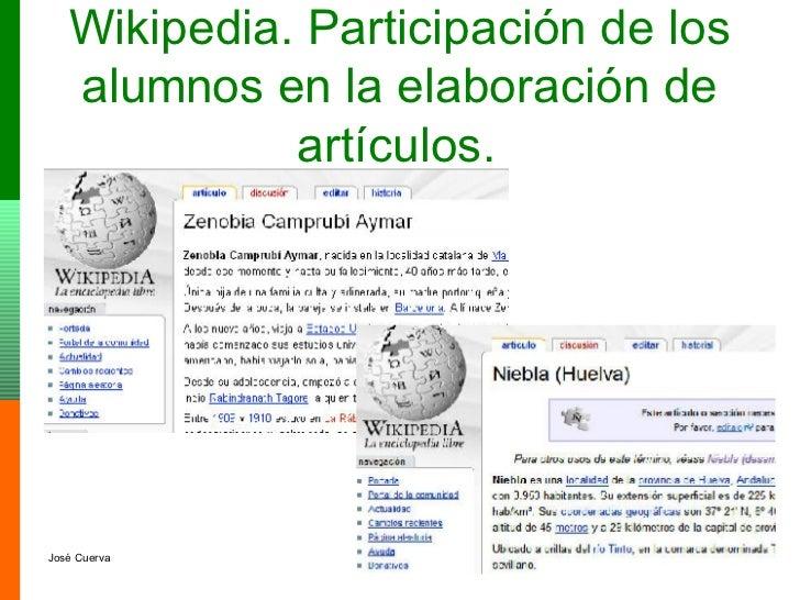 Wikipedia. Participación de los alumnos en la elaboración de artículos.