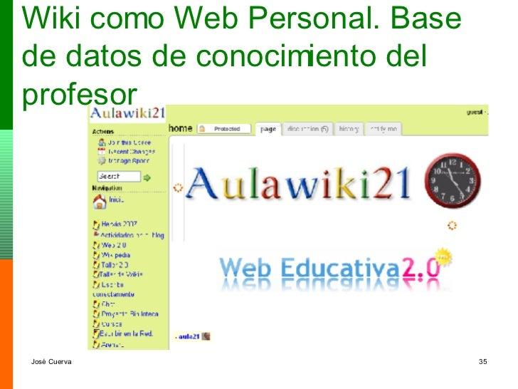 Wiki como Web Personal. Base de datos de conocimiento del profesor