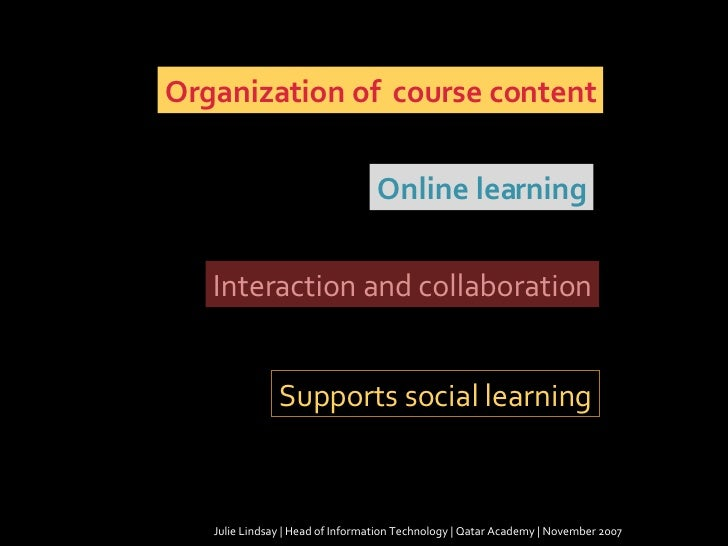 Julie Lindsay | Head of Information Technology | Qatar Academy | November 2007 Organization of  course content Online lear...