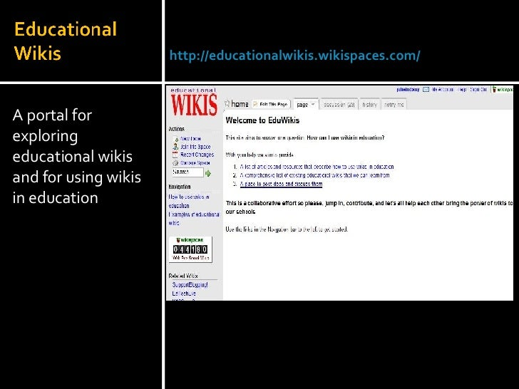 <ul><li>A portal for exploring educational wikis and for using wikis in education </li></ul>Julie Lindsay | Head of Inform...