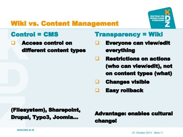 www.kdz.or.at  Wiki vs. Content Management  Control = CMS  Access control on different content types  (Filesystem), Share...