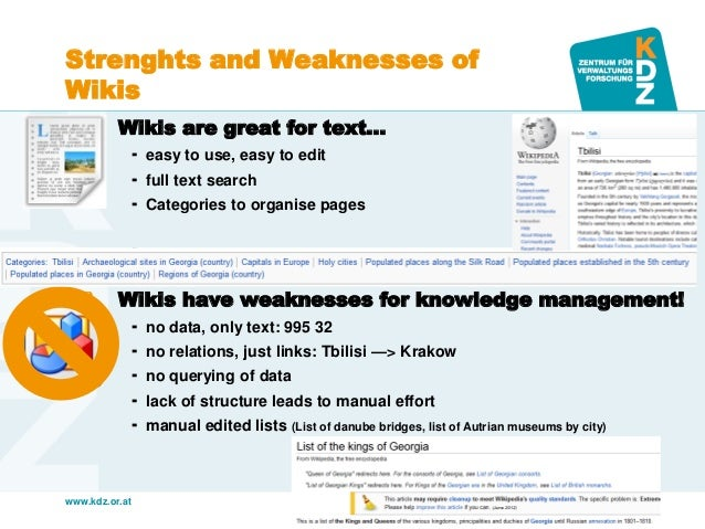www.kdz.or.at  Strenghts and Weaknesses of Wikis  Wikis are great for text…  easy to use, easy to edit  full text searc...