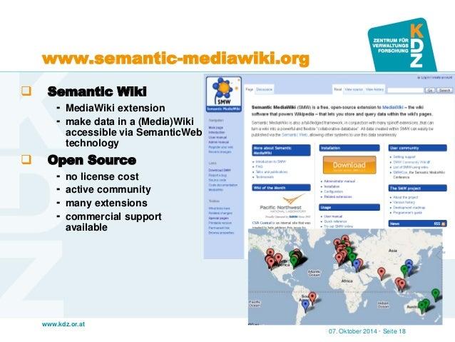 www.kdz.or.at  www.semantic-mediawiki.org  Semantic Wiki  MediaWiki extension  make data in a (Media)Wiki accessible vi...